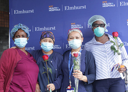 Flowers of Colombia paid tribute to medical workers of Elmhurst Hospital in New York